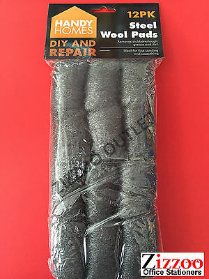 Steel Wool Pads Ideal For Cleaning, Removing Rust And Stains, Etc + Free P&p