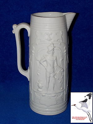 "Parian Ware Antique Jug Cunnig Artus And Hector Van Droie Tk 9.25""h Vgc"