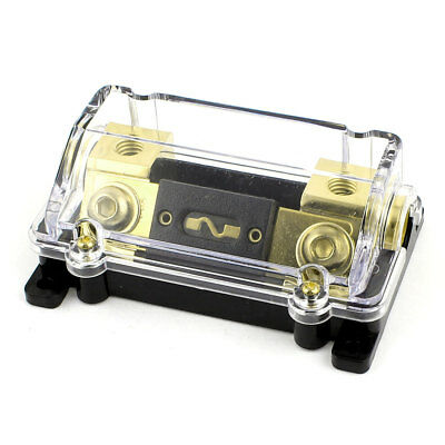 Car 60A 1 in 1 Out Digital ANL Fuse Holder Black Gold Tone