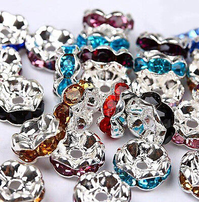 Wholesale 50/100Pcs Crystal Rhinestone Silver Plated Rondelle Spacer Beads 8mm