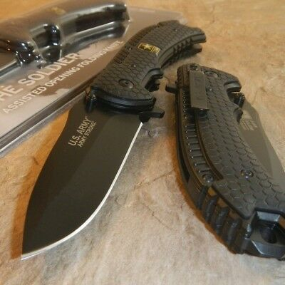 OFFICIAL US ARMY Spring Assisted Open MILITARY TACTICAL Folding Pocket Knife NEW