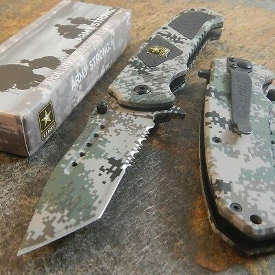 ARMY Spring Assisted Opening TANTO Tactical Folding Pocket Knife CAMO Blade NEW
