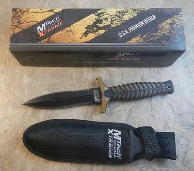 "MTech Xtreme Tan Handle 9.5"" Double Edge Dagger Tactical Combat Knife w/ Sheath"