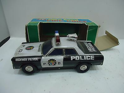 Highway Patrol Vintage Tin Toy Battery Operated By Daishin Made In Japan Police