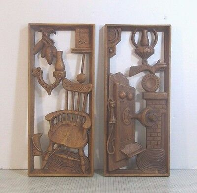 Pair Of Turner Country Theme Decorative Faux Wood Dimensional Wall Plaques