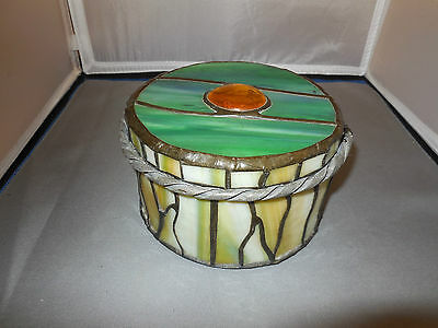 Beautiful Stained Glass Round Box with Cover- Signed Hand-made  (EB28)