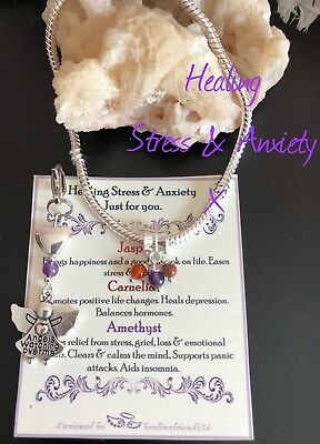 Stress,Depression & Anxiety Healing Crystal Bracelet With Charm. Chakra Gift Set