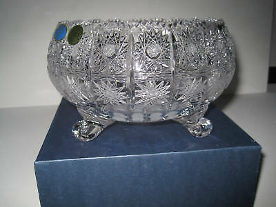 """Vintage Bohemia Queen Lace Hand Cut 24% Lead Crystal Round Footed Bowl 12"""" Nib"""