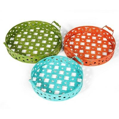 GORGEOUS Unique METAL Trays Display Serving Round Green Aqua Orange SET Three 3