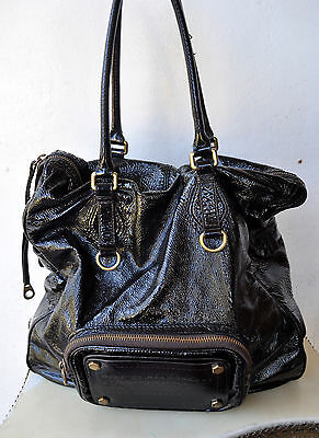MARC BY MARC JACOBS Rare XL Crinkled Patent Leather Tote Bag w/ External Pocket