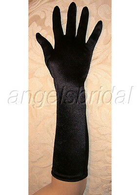 "15"" Black Elbow Length Stretch Satin Bridal Wedding Prom Costume Opera Gloves"