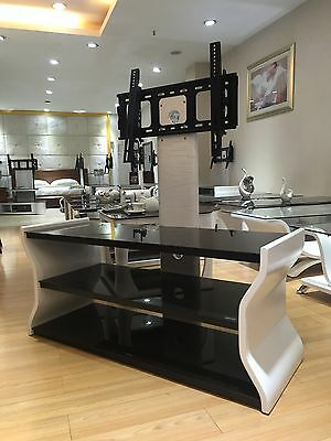 """Designer TV Stands in White with Bracket for 32"""" 65"""" Curved and Flat TV's"""