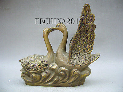 """11""""Chinese Fengshui Collection Bronze A Pair Of Male And Female Swans Statue"""