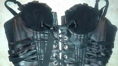 BLACK CORSET BUSTIER Faux Leather Goth Lace-up Costume Lingerie Clubwear