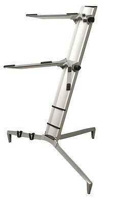 TWO-TIER PORTABLE COLUMN KEYBOARD STAND ALUMINUM SILVER w/ CARRYING BAG KS-80A