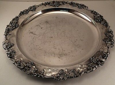 "11 1/8"" ~1900 Barbour S.P.Co. 5336 Silverplated Ornate Plate Tray"