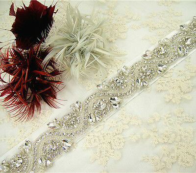 "18"" Handmade Ivory Pearl Bridal Belt Rhinestone Wedding Sash Any Colour Ribbon"