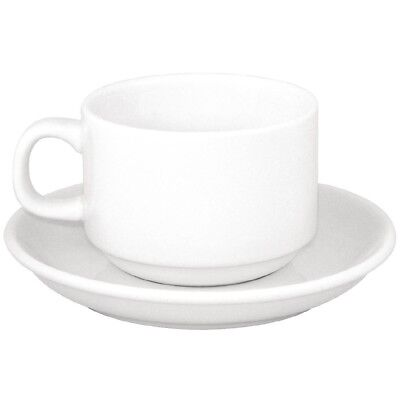 Pack of 24 Athena Hotelware Stacking Tea Cup & Saucer Combo Porcelain