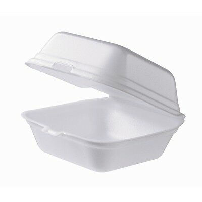 125x Foam Clam Burger Boxes Small Food Takeaway Container Catering Disposables