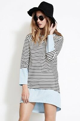 ISLA Keep It Simple Stripes Dress The Source Collection w Round Neckline IS-0963