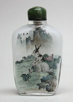 RARE CHINA CHINESE SNUFF BOTTLE Glass Inside Painting Rabbits & Landscape Signed