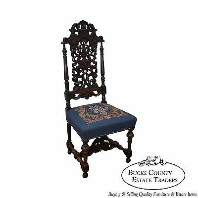 Antique Carved Renaissance Style Highback Side Chair