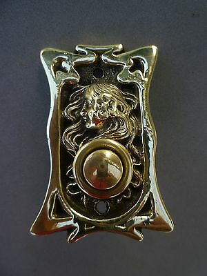 Antique Art'nouveau Bronze Door Bell Push Button Original