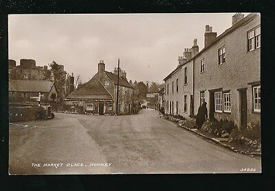 Somerset NUNNEY The Market Place George Inn repaired tear c1910/20s? RP PPC