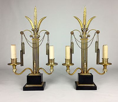 Antique Pair French Art Deco Directoire Fleur De Lis Lamps