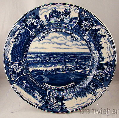 """Adams PICTURESQUE THOUSAND ISLANDS Cabinet Plate With 6 Scenes 10"""" SOME CRAZING"""