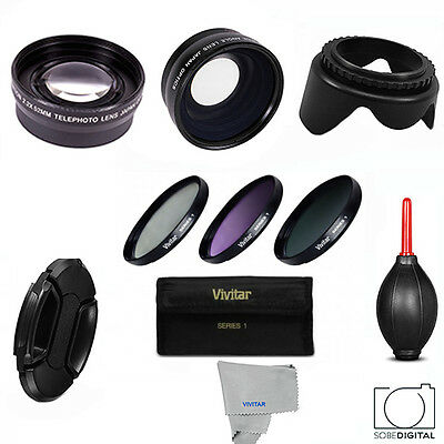 58mm HD 3 LENS WIDE ANGLE +ZOOM+MACRO +FILTER KIT FOR CANON EOS REBEL T4I T5I T6