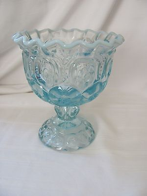 LE Smith ice blue moons & stars pedestal compote bowl moonstone ruffle