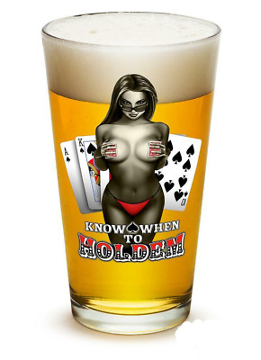 Know When To Hold Them Poker Cards Chips - Set of 2 - Large Pint Glasses 16oz Dr