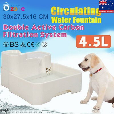 4.5L Water Automatic Dog Cat Waterfall Drinking Fountain Large Pet Drinker