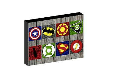 "Multi Superhero Logo 12""x16"" (A3) Canvas Picture"