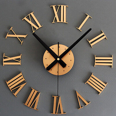 Handmake Luxury 3D Romen Numerals Wall Clock Large Size Home Decoration Art