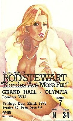 Rare / Ticket Concert - Rod Stewart Live To London Grand Hall - 22 Decembre 1978