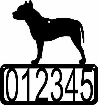 Pit Bull Terrier Dog CUSTOM Personalized Metal ADDRESS House Number Sign Made US