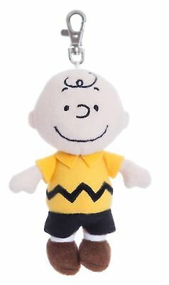 "PEANUTS 5"" Charlie Brown Keyring Clip Cuddly Soft Toy Teddy by AURORA Snoopy"