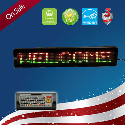 """LED SIGN 40""""x7"""" REMOTE PROGRAMMABLE TRI COLOR SCROLLING ELECTRIC MESSAGE BOARD"""