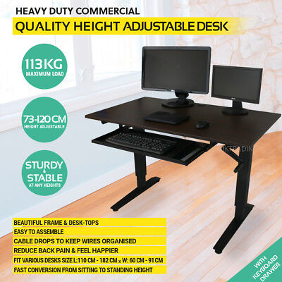 Height Adjustable Standing Desk Sit Stand with Dark Maple Wood Top & Keyboard
