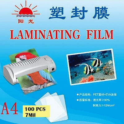 100pcs 7Mil A4 Laminate Film 22x31cm Laminating Pouch Glossy Protect Photo Paper