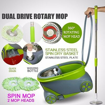 New 360 Degree Magic Spin Mop Wheels Stainless Steel Spin-Dry Bucket w/2 Mop Hea
