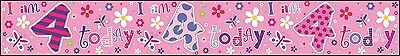 Age 4/ 4Th Birthday Girl Pink Foil Banners (Se)