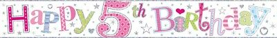Age 5/ 5Th Birthday Girl Pink Foil Banners (Se)