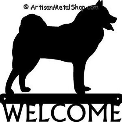 "Dog Silhouette Metal Art Welcome Sign Wall Plaque 12"" - Breed Finnish Spitz"