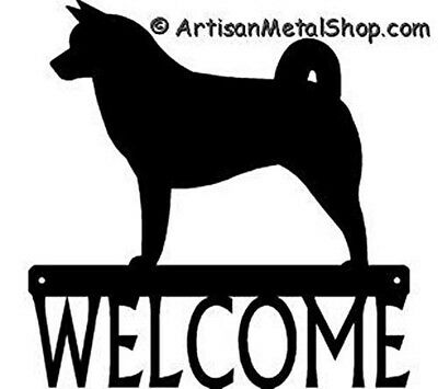 "Dog Silhouette Metal Art Welcome Sign Wall Plaque 12"" - Breed AKITA"