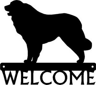 "Dog Silhouette Metal Art Welcome Sign Wall Plaque 12"" - Breed  Great Pyrenees"