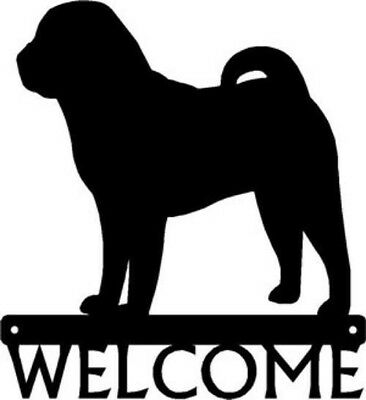 """Dog Silhouette Metal Art Welcome Sign Wall Plaque 12"""" - Breed  Shar Pei"""