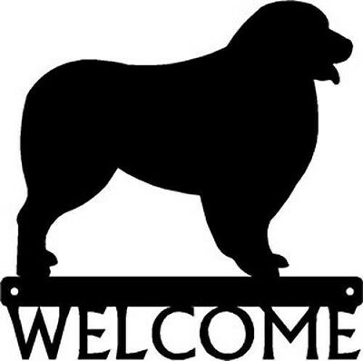 "Dog Silhouette Metal Art Welcome Sign Wall Plaque 12"" - Australian Shepherd"